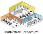 isometric 3d illustration set... | Shutterstock . vector #796824094