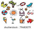 icons beach holiday on a... | Shutterstock .eps vector #79683079