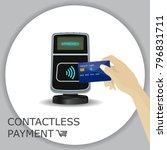 pos terminal with hand and... | Shutterstock .eps vector #796831711