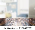 closeup top wood table with... | Shutterstock . vector #796842787