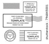 postal cancellation first class ... | Shutterstock .eps vector #796845001