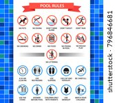 pool rules poster. swimming... | Shutterstock .eps vector #796846681