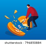 the businessman cut the gold... | Shutterstock .eps vector #796850884