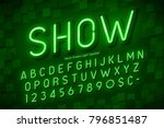 neon light 3d alphabet  extra... | Shutterstock .eps vector #796851487