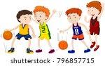 boys playing basketball on... | Shutterstock .eps vector #796857715