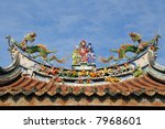 oriental temple roof architecture - stock photo