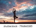 yoga silhouette outdoor at... | Shutterstock . vector #796860385
