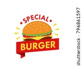 burger logo design vector with... | Shutterstock .eps vector #796861597