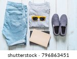 men's casual outfits of... | Shutterstock . vector #796863451