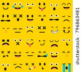 set of emoticons  emoji... | Shutterstock .eps vector #796863481