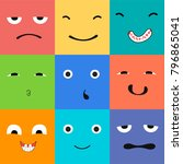 9 icons set faces and... | Shutterstock .eps vector #796865041