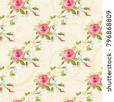 seamless floral pattern with... | Shutterstock .eps vector #796868809