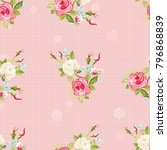 seamless floral pattern with... | Shutterstock .eps vector #796868839