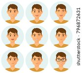isolated boy avatars with... | Shutterstock .eps vector #796872631