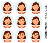 isolated girl avatars with... | Shutterstock .eps vector #796872637