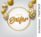 happy easter background with... | Shutterstock .eps vector #796873429