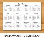 calendar 2018 year in simple... | Shutterstock .eps vector #796884829