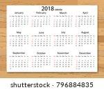 calendar 2018 year in simple... | Shutterstock .eps vector #796884835