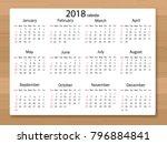 calendar 2018 year in simple... | Shutterstock .eps vector #796884841