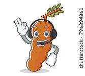 listening music tamarind mascot ... | Shutterstock .eps vector #796894861