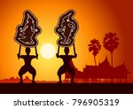 the grand shadow play .thai... | Shutterstock .eps vector #796905319