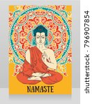 poster with buddha in... | Shutterstock .eps vector #796907854