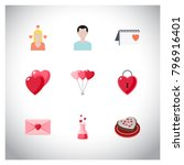 valentine's icons set vector | Shutterstock .eps vector #796916401