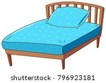 bed with blue pillow and sheet... | Shutterstock .eps vector #796923181