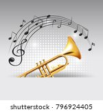trumpet coming out of template...   Shutterstock .eps vector #796924405