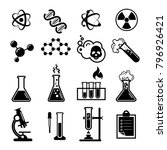 set of chemistry icons and... | Shutterstock .eps vector #796926421