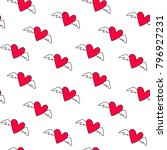 cute flying hearts with wings... | Shutterstock .eps vector #796927231