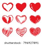 set of red grunge hearts.... | Shutterstock .eps vector #796927891