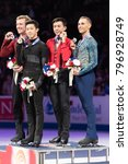 Small photo of San Jose, CA/U.S.A. - January 6, 2018: Nathan Chen, Ross Miner, Vincent Zhou and Adam Rippon show their U.S. National Figure Skating medals