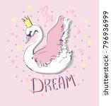 hand drawn cute swan... | Shutterstock . vector #796936999