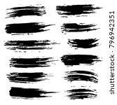 grunge ink brush strokes set.... | Shutterstock .eps vector #796942351