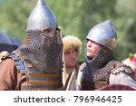 Small photo of Russia, Samara Region, August 10, 2014: reconstruction of the battle between the troops of Timur and Tamerlane and the Golden Horde Army of Khan Tokhtamish, soldiers in chain mail and helmets