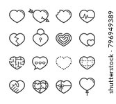 heart thin line icons 2018   Shutterstock .eps vector #796949389