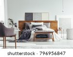 wooden bench and armchair in... | Shutterstock . vector #796956847