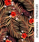 seamless hand drawn tropical... | Shutterstock .eps vector #796961185