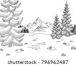 forest glade graphic black... | Shutterstock .eps vector #796962487