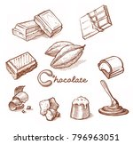 chocolates. hand drawn sketch... | Shutterstock . vector #796963051