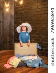 little traveler stands near the ... | Shutterstock . vector #796965841