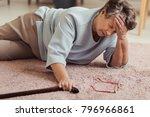 sick senior woman with headache ... | Shutterstock . vector #796966861