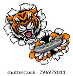 a tiger angry animal esports... | Shutterstock .eps vector #796979011