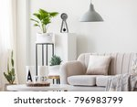 gray lamp above beige couch... | Shutterstock . vector #796983799