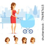 happy mother on the walk with ...   Shutterstock .eps vector #796987615
