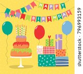 hand drawn birthday card with a ... | Shutterstock .eps vector #796993159