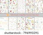 set of 1960's memphis vintage...   Shutterstock .eps vector #796993291
