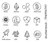 12 top hand drawn crypto... | Shutterstock .eps vector #796994797