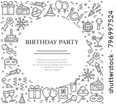 birthday party banner with... | Shutterstock .eps vector #796997524